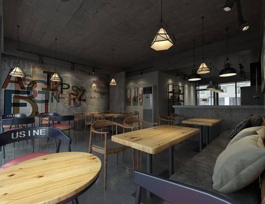 餐厅, 桌椅组合, 吊灯, 背景墙