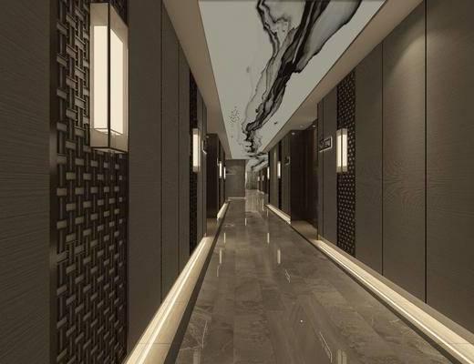 走廊过道, 壁灯, 新中式