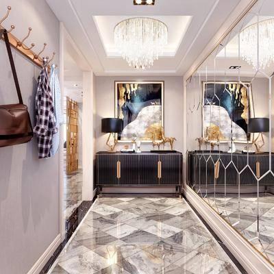 玄关, 走廊, 现代轻奢玄关3d模型, 边柜, 摆件组合, 装饰画