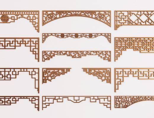 门拱, 雕花, 构件, 新中式门拱, 镂空, 新中式