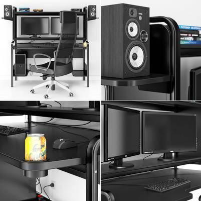 电脑桌, 电脑椅, 电脑, 键盘, 音响, 现代