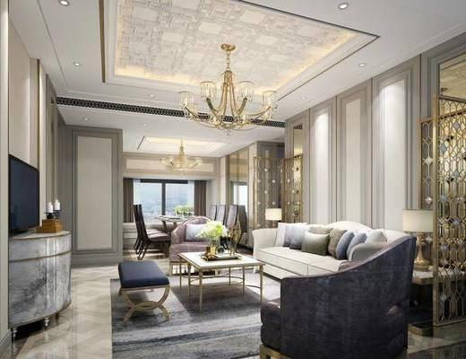 客厅, 多人沙发, 单人沙发, 边几, 台灯, 茶几, 吊灯, 躺椅, 电视柜, 装饰柜, 边柜, 餐桌, 餐椅, 单人椅, 摆件, 装饰品, 陈设品, 现代