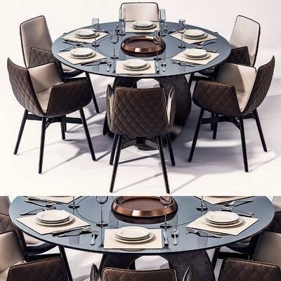 桌椅组合, 圆桌, 餐具, 餐桌, 现代