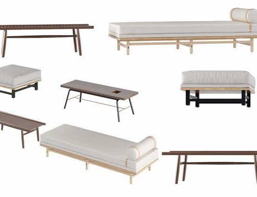 中式床尾凳脚凳组合, 脚踏, 中式