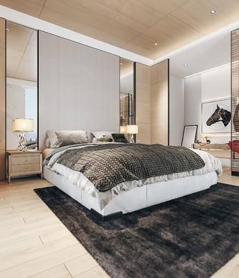 雙人床, 床具組合, 床頭柜, 臺燈