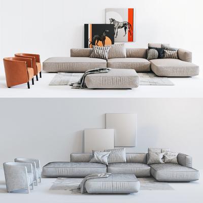 现代沙发茶几休闲椅客厅模型组合, 现代, 沙发, 茶几, 椅子, 装饰画