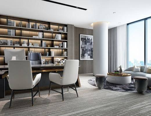 现代, 办公室, 多人沙发, 单人沙发, 茶几, 书柜