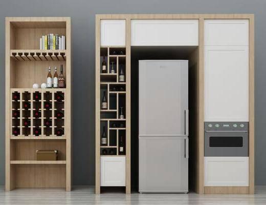 酒柜, 冰箱, 北欧酒柜, 摆件, 红酒, 烤箱, 北欧