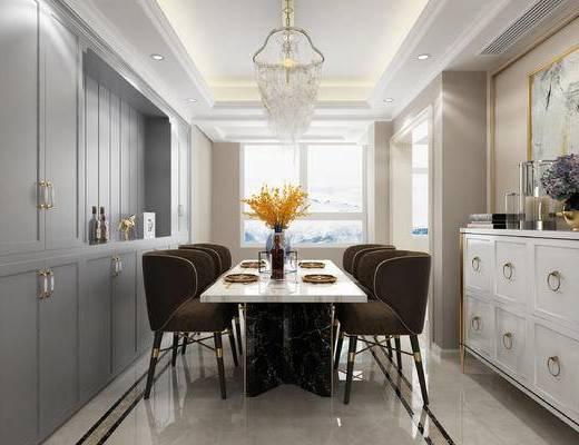 现代, 美式, 简约, 轻奢, 餐厅, 餐桌椅, 椅子, 酒柜, 餐边柜, 吊灯
