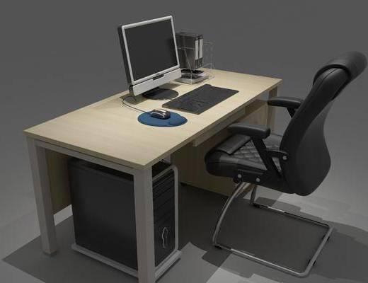 现代电脑桌, 电脑桌, 桌椅组合
