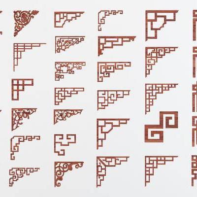 中式角花, 花格, 中式构件