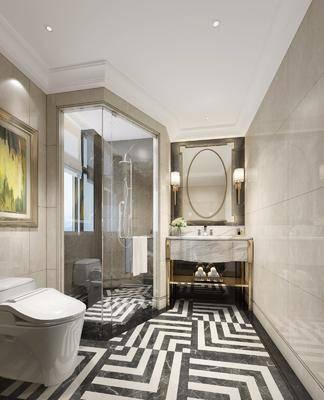 卫生间, 洗手台, 壁灯, 马桶, 装饰画, 挂画, 花洒, 装饰镜, 中式