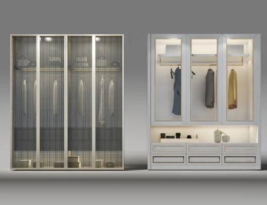 现代衣柜, 衣橱, 衣服, 装饰摆件