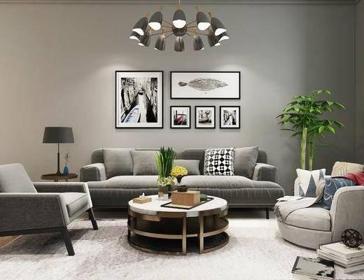 沙发, 沙发组合, 新中式沙发, 沙发茶几组合, 先垫付沙发, 吊灯