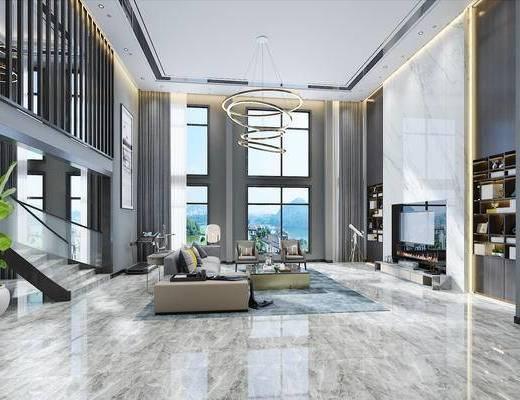 现代, 客厅, 简约, 别墅, 现代客厅, 沙发组合, 吊灯, 电视柜, 装饰柜, 书柜