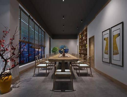 茶馆, 茶桌, 单人椅, 装饰画, 挂画, 花卉, 花瓶, 装饰品, 陈设品, 盆栽, 新中式