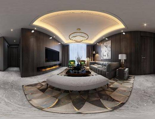 沙发组合, 茶几, 吊灯, 装饰画