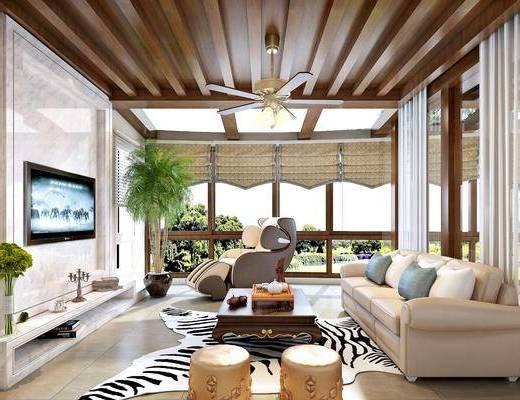 东南亚客厅, 三人沙发, 皮革沙发, 茶几, 按摩椅, 绿植, 鼓凳, 茶具