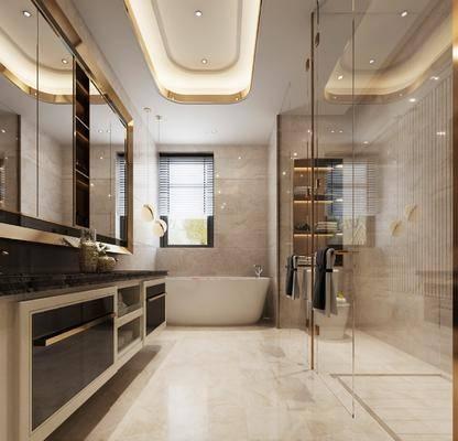 卫浴, 卫生间, 现代卫生间, 轻奢, 浴缸