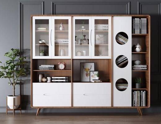 书柜, 柜架组合, 置物柜, 书籍