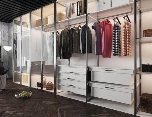 现代, 衣柜, 陈设, 衣服, 衣架, 椅子, 单椅