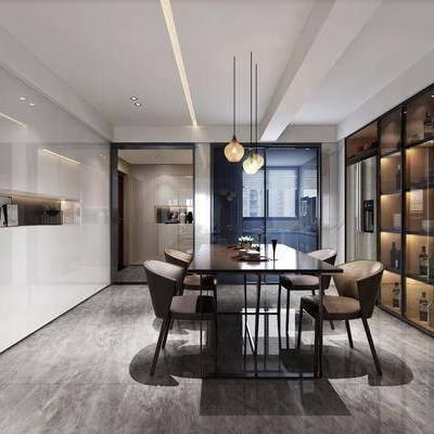 现代餐厅, 现代, 餐厅, 餐桌椅, 酒柜, 餐桌, 椅子, 现代吊灯
