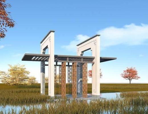 新中式, 凉亭, 园林景观