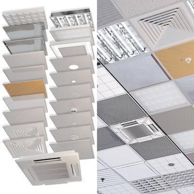 铝扣板, 天花板, 现代, 出风口
