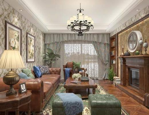 客厅, 多人沙发, 单人沙发, 边几, 茶几, 装饰画, 挂画, 凳子, 摆件, 装饰品, 陈设品, 吊灯, 墙饰, 美式