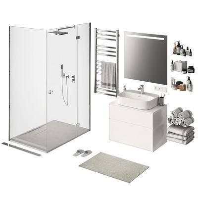 浴室, 淋浴房, 卫浴架, 毛巾, 洗手台, 拖鞋, 洗浴用品, 插头, 地垫, 卫浴用品