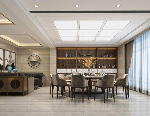 新中式餐厅, 餐厅, 餐桌椅, 餐桌, 椅子, 沙发, 酒柜