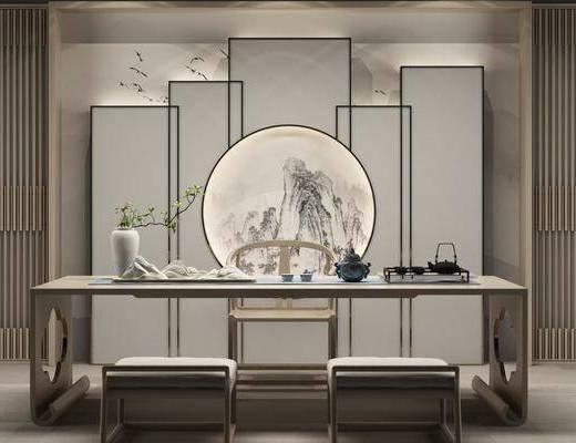 茶几, 凳子, 单人椅, 圆框画, 风景画, 茶桌, 茶具, 花瓶, 绿植, 装饰品, 陈设品, 屏风隔断, 中式