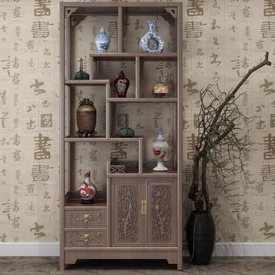博古架, 裝飾柜, 擺件組合, 花瓶干樹枝, 中式