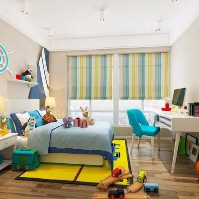 儿童房, 卧室, 床, 桌子, 书桌, 椅子, 玩具, 床头柜