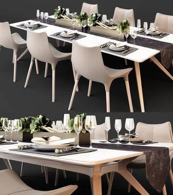 现代, 餐桌椅, 餐具, 花瓶