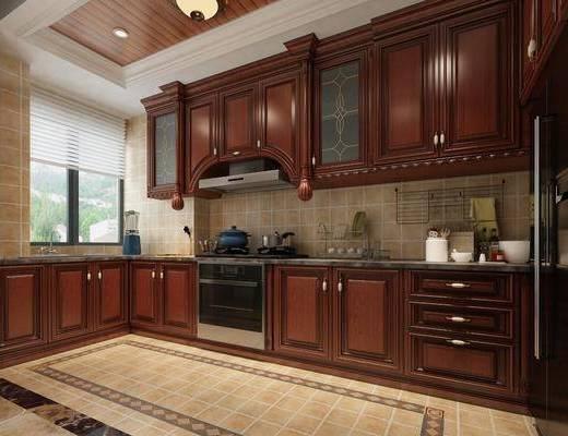 厨房, 美式厨房, 橱柜, 抽油烟机, 厨具