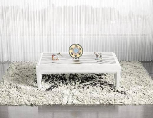 斑马?#39057;?#27631;, 方形地毯, 桌子, 装饰品, 陈设品, 摆件, 现代