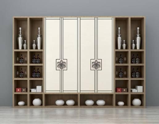 新中式酒柜, 装饰柜, 摆件, 瓷器