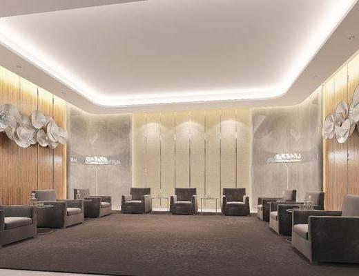 接待室, 貴賓室, 會議室, 墻飾組合, 沙發組合, 落地燈組合, 現代