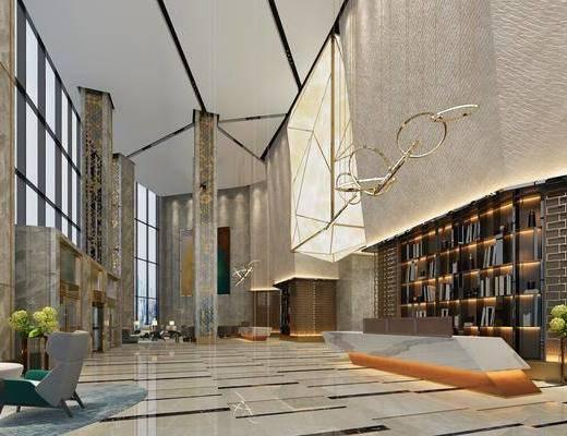 大堂, 前台, 大厅, 现代大堂大厅, 沙发组合, 茶几, 吊灯, 现代