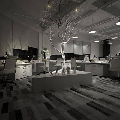 办公室, 办公桌, 台灯, 摆件, 装饰画, 现代