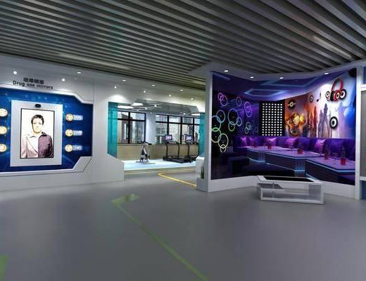 科技展厅, 桌子, 单人椅, 前台, 健身器材, 现代