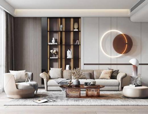 现代客厅, 装饰柜, 沙发, 墙饰
