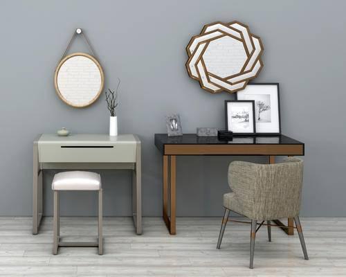 后现代, 梳妆台, 现代梳妆台, 镜子, 书桌, 桌子