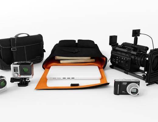 摄影机, 照相机, 数码相机, 数码设备, 背包, 手提包, 行李包