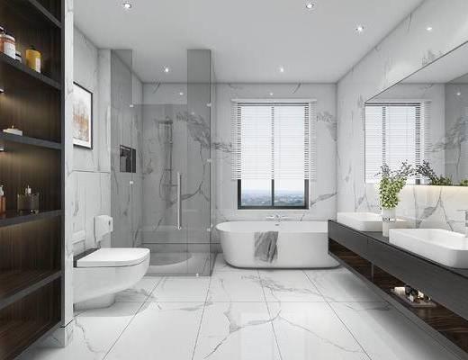 浴室柜, 卫浴, 浴缸, 洗手盆, 壁镜, 马桶