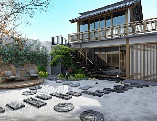 客栈庭院, 楼梯, 门面门头, 绿植植物, 树木, 花卉, 单人椅, 竹子, 中式