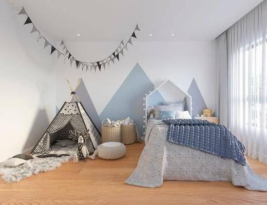 现代儿童房, 儿童房, 单人床