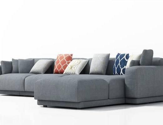 现代, 多人沙发, 沙发, 转角沙发, 抱枕