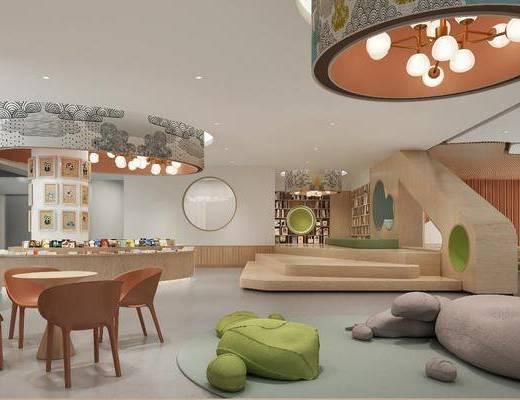 幼儿园, 单人椅, 桌子, 凳子, 休闲椅, 装饰柜, 墙饰, 吊灯, 现代